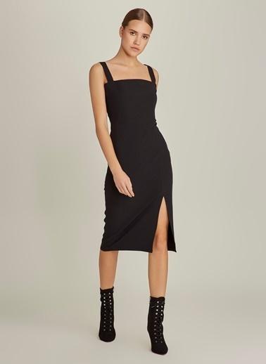 NGSTYLE Yırtmaçlı Kalem Elbise Siyah